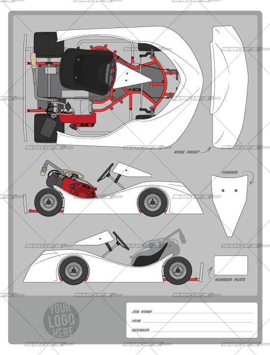 Offset flat kart template 2 swoop school of racing for Race car graphic design templates