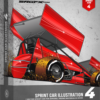 SRGFX Sprint Car Illustration 4 Box
