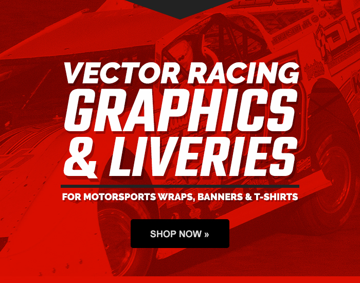 Vector racing graphics and liveries for motorsports, wraps, banners, t-shirts and more!