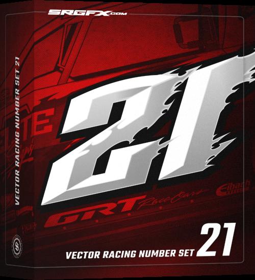 Race Car Number Designs >> Vector Racing Number Set 21 | School of Racing Graphics
