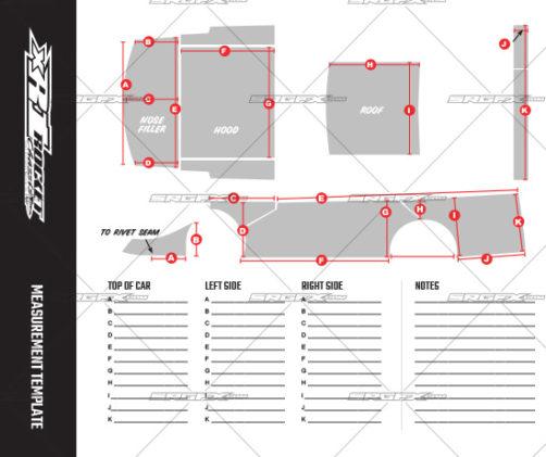 SRGFX XR1 Dirt Late Model Wrap Template Measurement Sheet