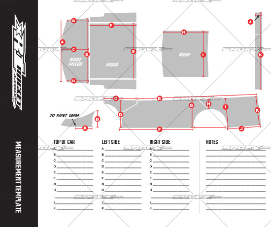 SRGFX XR1 Dirt Late Model Wrap Template Measurement Sheet