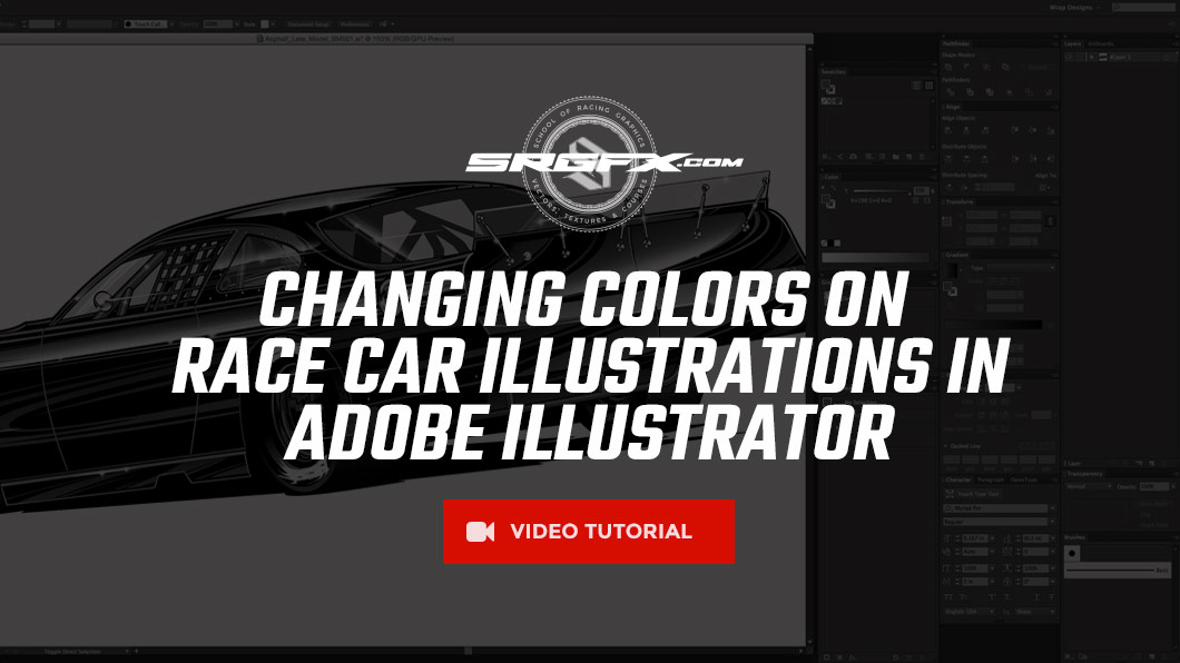 Adjusting colors on race car Illustrations in Adobe Illustrator