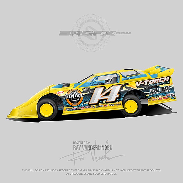 Yellow number 14 Dirt Late Model Wrap Layout
