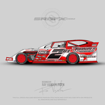 An red and white number 261 Dirt Modified vector racing graphic wrap layout