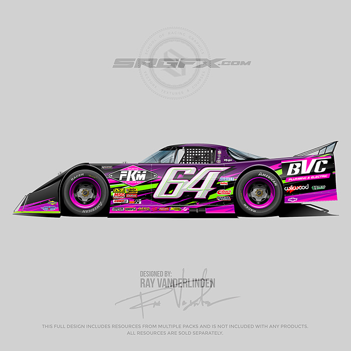 A purple, green and florescent pink , number 64 Asphalt outlaw late model vector racing graphic wrap layout.