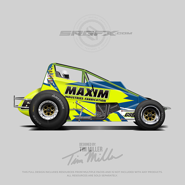 A yellow, blue and green , number 62 Wingless Sprint Car vector racing graphic wrap layout.