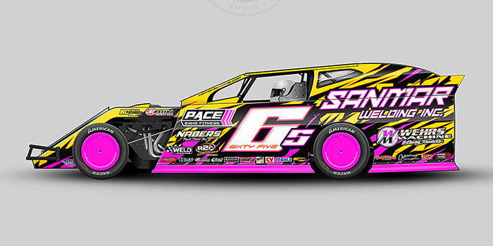 A yellow, pink and black, number 65 dirt modified vector racing graphic wrap layout.