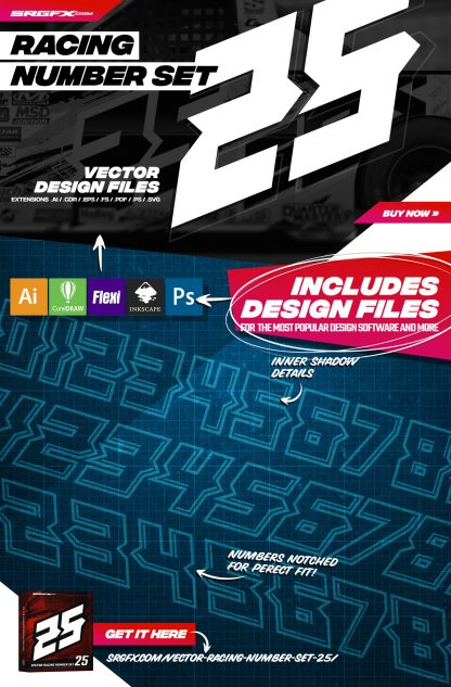 SRGFX Vector Racing Number Set 25