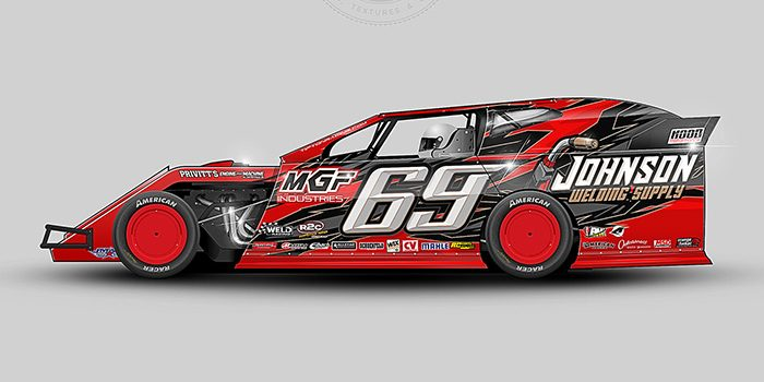 A Red, black, gray and gold number 69 dirt modified vector racing graphic wrap layout. All resources for this racing wrap design are available at schoolofracinggraphics.com.