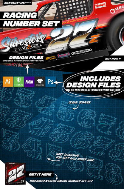 SRGFX Vector Racing Number Set 27