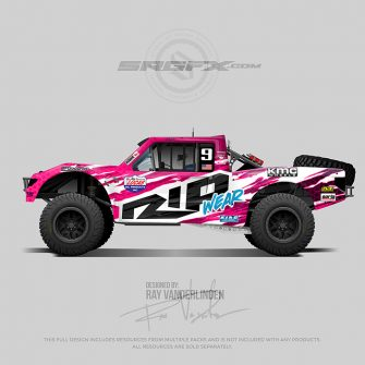 A pink, black, and white number 9 stadium truck vector racing graphic wrap layou
