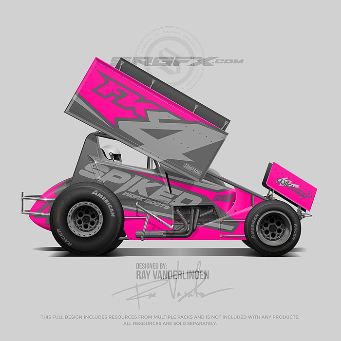 Spiked work boots 2019 Sprint Car Wrap Design