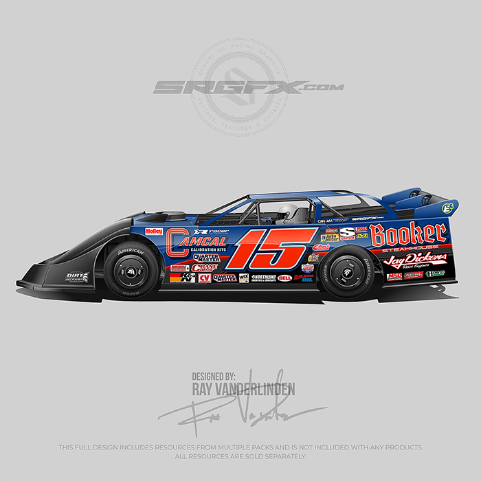A black, blue and red Dirt Late Model Wrap Design with design resources for graphic designers, freelance designers, wrap companies and wrap designers.