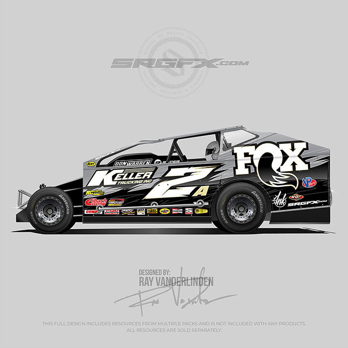 A gold, black and gray number 2 east coast modified wrap layout design assets for wrap designers, graphic designers and wrap companies.