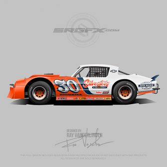 An orange and white racing wrap layout for asphalt and dirt street stocks.
