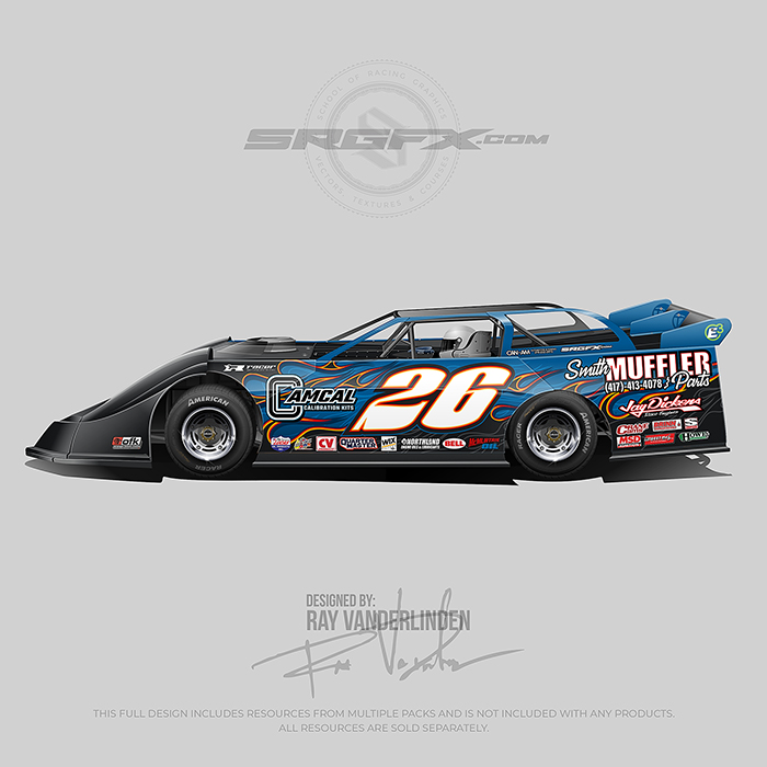 A blue and black number 26 Dirt Late Model Wrap design with flames and fire.