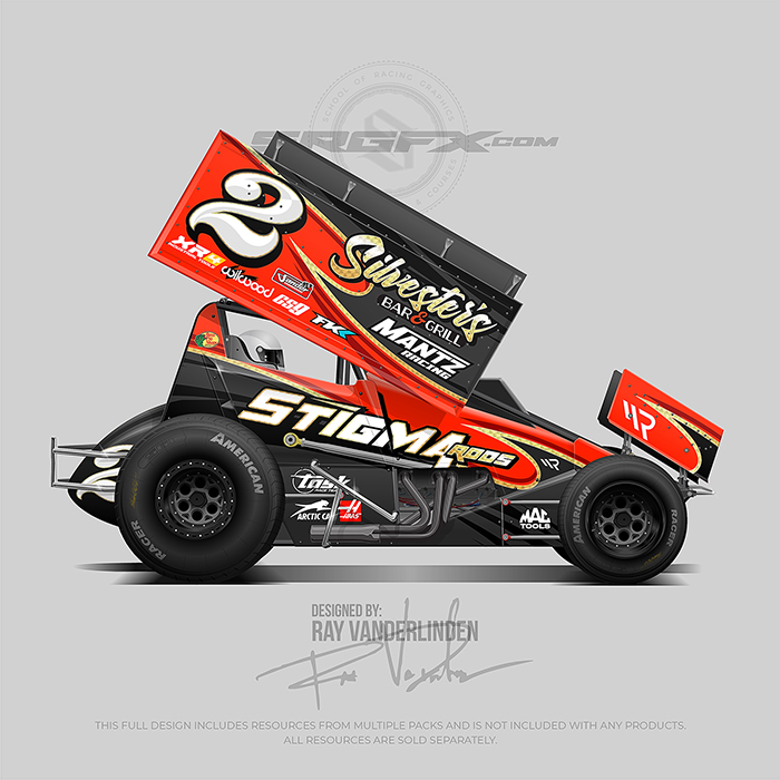 Red black and gold number 2 Sprint Car wrap design