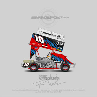 Red, blue and black number 10 Outlaw Kart Wrap design