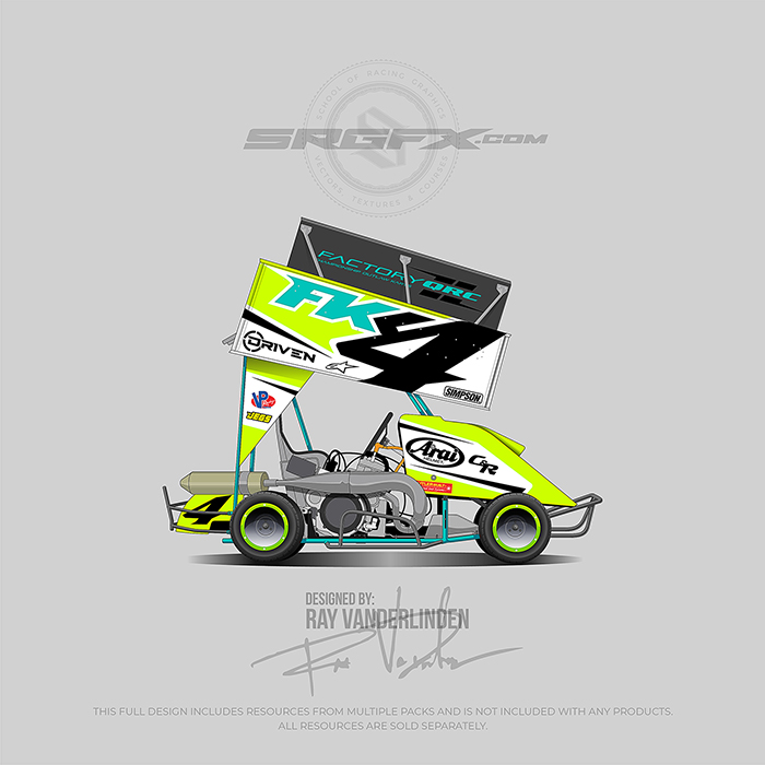 Neon Yellow, White and Turquoise Outlaw Kart Wrap Design