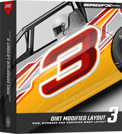 A yellow silver and red Dirt Modified Wrap Layout