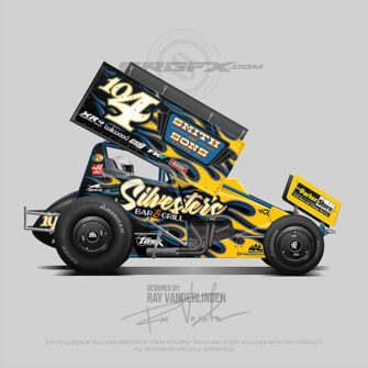 Sylvesters black, yellow and blue Sprint Car