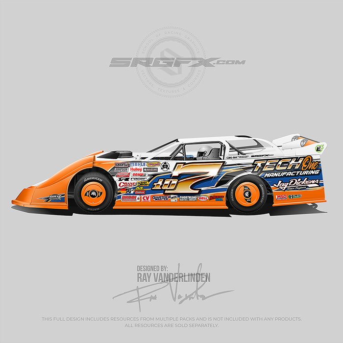 Orange, Black and Blue number 107 Dirt Late Model Wrap Design