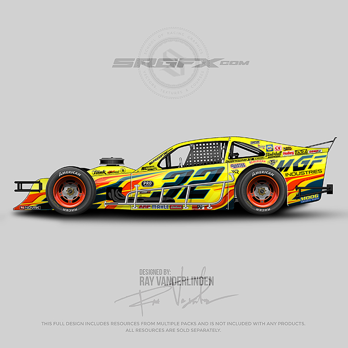 Yellow, red and blue number 32 Asphalt Modified wrap design