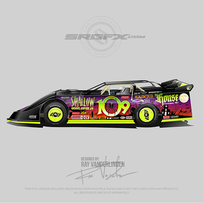 green, orange purple and black Halloween themed Dirt Late Model