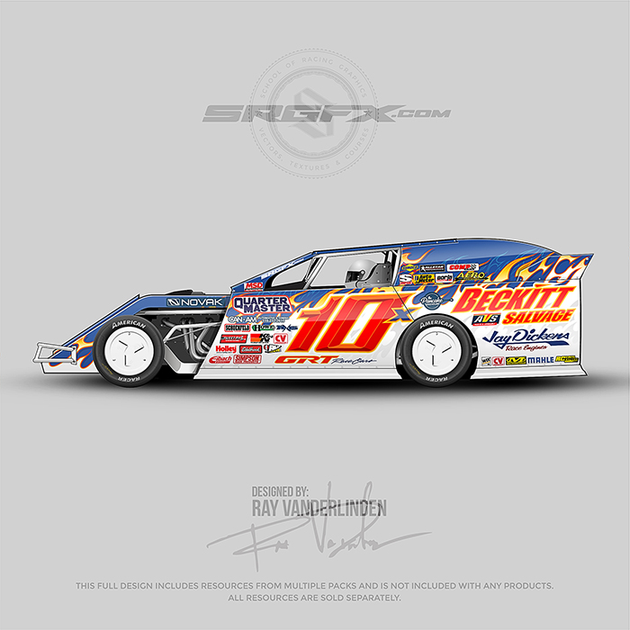 A blue and white Dirt Modified with flame tip graphics.