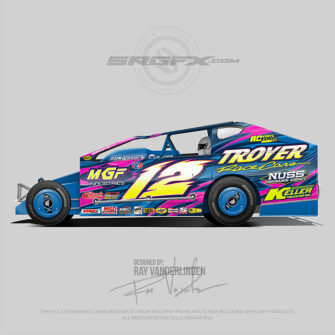 A blue, pink and yellow number 12 East Coast Modified vector racing graphic wrap layout for Troyer Race Cars