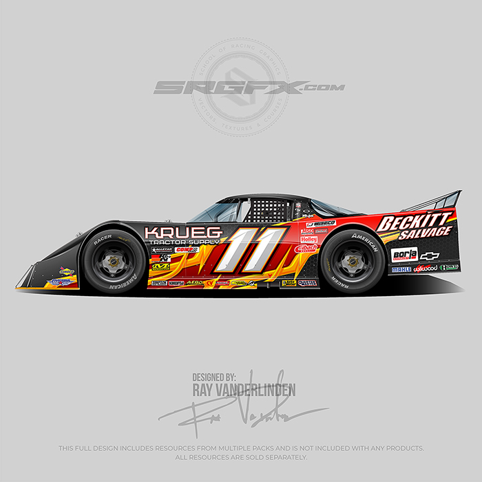 A red, yellow and black number 11 Asphalt Outlaw Late Model wrap design