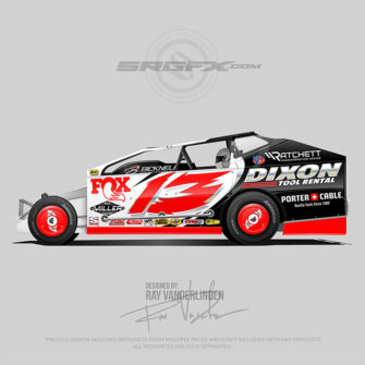 A red, silver and black number 13 East Coast Modified vector racing graphic wrap layout
