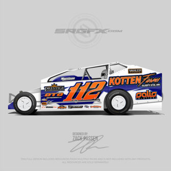 A white, blue and orange number 112 East Coast Modified vector racing graphic wrap layout.