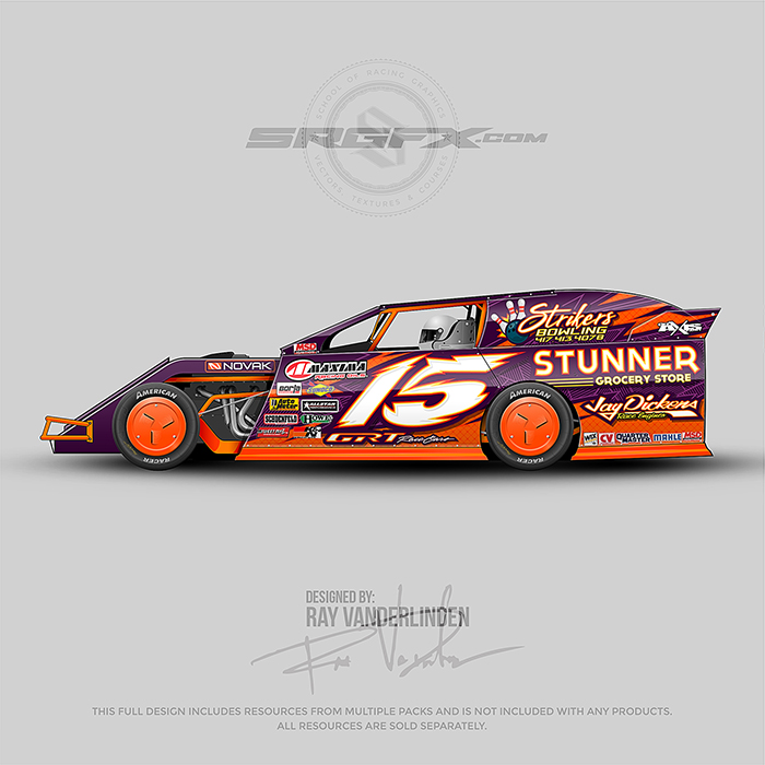 A purple and orange number 15 Dirt Modified wrap design.