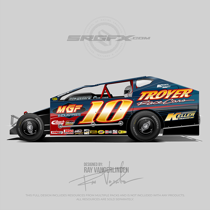 A blue, red and black number 10 East Coast Modified vector racing graphic wrap layout