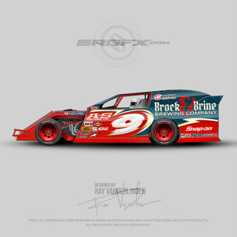 A blue, red and cream number 9 Dirt Modified racing graphic wrap layout.