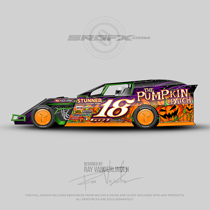 A orange, purple and green number 18 Dirt Modified racing graphic wrap layout.